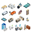 Interior Isometric Objects Set vector image vector image