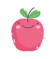 kawaii gardening cartoon cute happy apple fruit vector image vector image