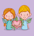 kids and love cartoons vector image