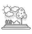 line counds raining with tree and grid wool vector image vector image