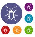 longhorn beetle grammoptera icons set vector image vector image