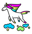 magic unicorn in clouds vector image vector image