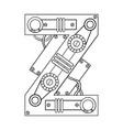 mechanical letter z engraving vector image vector image