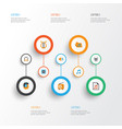 music flat icons set collection of broadcasting vector image