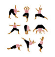 plus size curvy woman in yoga positions set plump vector image