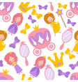 princess seamless cartoon pattern magic vector image
