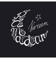 Ramadan Kareem doodle lettering in moon linear vector image vector image