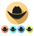 Set Flat icons of Black cowboy hat vector image vector image