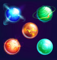set isolated universe planets or cosmos stars vector image vector image