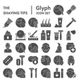 shaving tips glyph icon set shave symbols vector image