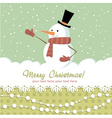 Snowman card green vector image