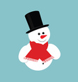 Snowman in black cylinder vector image