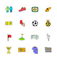 soccer icons set cartoon vector image vector image