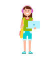 teenage girl with modern laptop and headphones vector image