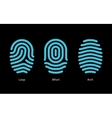 Thumbprint types on black background vector image vector image