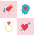 valentine day romantic icon set in flat style vector image vector image