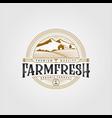 vintage farm fresh organic product logo design vector image