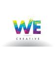 we w e colorful letter origami triangles design vector image vector image