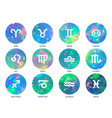 zodiac icons on watercolor background freehand vector image