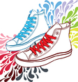 sneakers with red laces and blue vector image