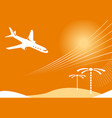 air travel sunset vector image