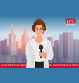 anchorman pretty woman on city background media vector image