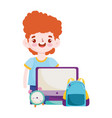 back to school student boy computer bag and clock vector image vector image