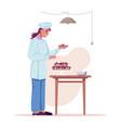 baker chef cook prepares sweet cake dessert food vector image