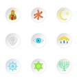 Beliefs icons set cartoon style vector image vector image