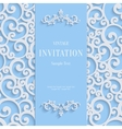 Blue 3d Vintage Invitation Card with Swirl vector image vector image