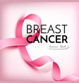 breast cancer awareness poster pink ribbon vector image vector image