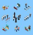 business coaching isometric set vector image vector image