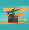 businessman flying on a leather business briefcase vector image