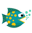 cartoon fish mouth opened with bubbles vector image