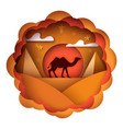 cartoon paper landscape camel vector image vector image