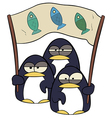 Cartoon penguins with banner vector image