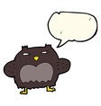 cartoon suspicious owl with speech bubble vector image vector image