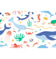 childish seamless pattern with sea and ocean vector image