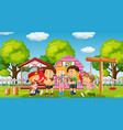 children with their pet at yard vector image