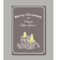 Christmas Candle in doodle style black on white vector image vector image