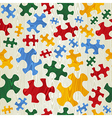 Colorful puzzle seamless pattern in wood texture vector image