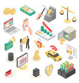 crypto currency isometric icons set vector image vector image