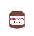 cute chocolate spread bottle jar cartoon vector image