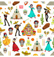 day dead seamless pattern with sugar skulls vector image