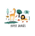 forest animals slogan and cute nature icons print vector image