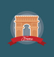 france culture card with arch of triumph vector image