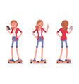gyroscooter girl balancing with smartphone vector image