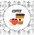 hot cup and disposable cup fresh beverage coffee vector image
