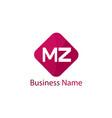 initial letter mz logo template design vector image