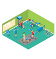 isometric fitness concept vector image
